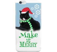 Funny Holiday Tuxedo Cat iPhone Case/Skin