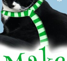 Funny Holiday Tuxedo Cat Sticker