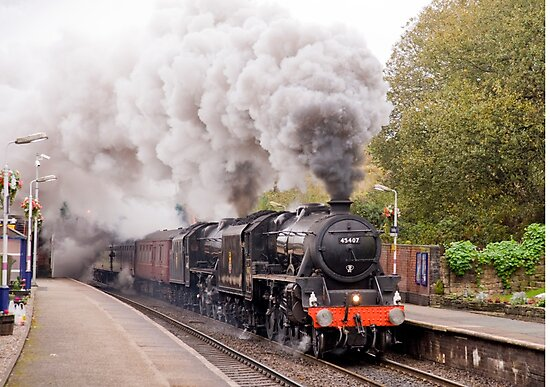 "Double headed Stanier ""Black Five"" locomotives thunder through Hindley station by John Morris"