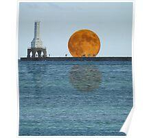 Port Washington Lighthouse And Moon Fantasy Poster