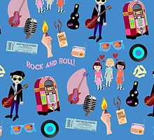 Rockin Retro Pattern by mytshirtfort