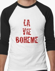 La Vie Boheme - Rent - Red Typography design Men's Baseball ¾ T-Shirt