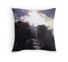 Sun through the trees Throw Pillow