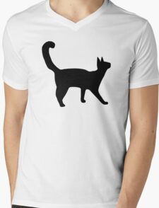 Black cat Mens V-Neck T-Shirt