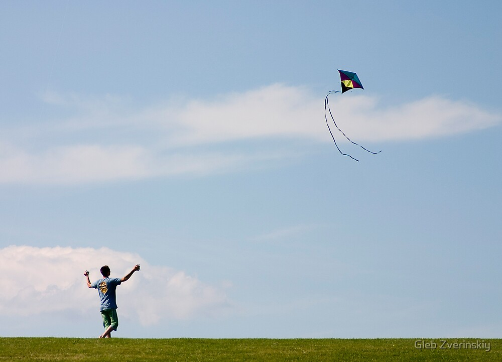 a boy and his kite by Gleb Zverinskiy