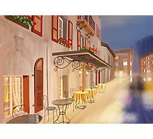 A small cafe in twilight Photographic Print