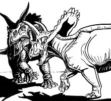 Dueling Triceratops by Voluspa