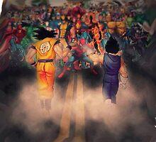 Goku And Vegeta VS Marvel Characters  by HotTuna