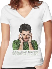 Shawn must use this power for good... Women's Fitted V-Neck T-Shirt