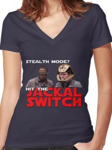 Hit the jackal switch! Women's Fitted V-Neck T-Shirt