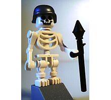 Skeleton Zombie Soldier with Custom Minifigure Helmet & Bazooka Photographic Print