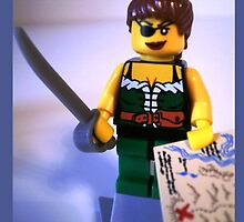 Custom Pirate Girl Minifigure with Treasure Map by Customize My Minifig