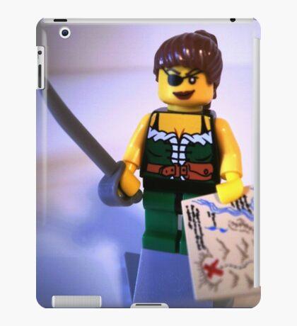 Custom Pirate Girl Minifigure with Treasure Map iPad Case/Skin