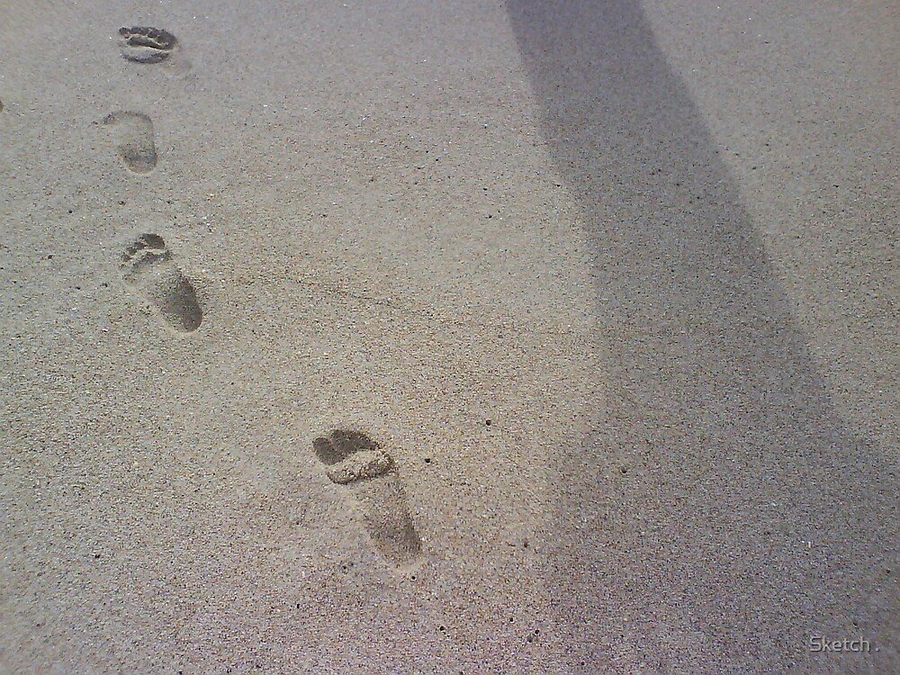 One set of footprints, one shadow. by Sketch .