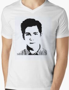 Logan Lerman Mens V-Neck T-Shirt