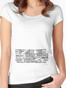 LINEart T-shirt: Lens-Knife Women's Fitted Scoop T-Shirt