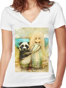 Panda and Snowdrop Women's Fitted V-Neck T-Shirt