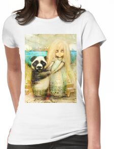 Panda and Snowdrop Womens Fitted T-Shirt
