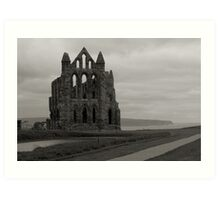 Whitby Abbey Overlooking Bay Black and White Art Print