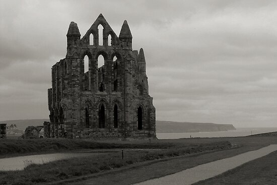 Whitby Abbey Overlooking Bay Black and White by shane22