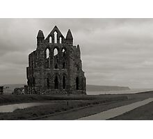 Whitby Abbey Overlooking Bay Black and White Photographic Print