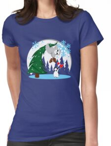 Sloth and Friend Holiday Womens Fitted T-Shirt