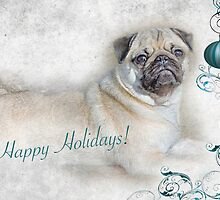 "Pug ""Happy Holidays"" ~ Greeting Card by Susan Werby"