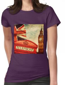 Red telephone booth and Big Ben in London, England Womens Fitted T-Shirt