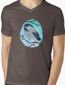 Slumbering Black Capped Chickadee Mens V-Neck T-Shirt