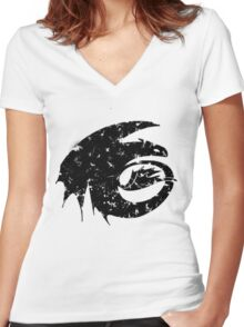 Toothless Silhouette Tee  Women's Fitted V-Neck T-Shirt