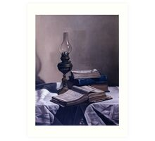 BOOKS  AND LAMP Art Print