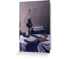 BOOKS  AND LAMP Greeting Card