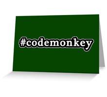 Code Monkey - Hashtag - Black & White Greeting Card