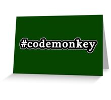 Code Monkey - Hashtag - Black & White Greeting Card