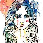 watercolour girl longhair by Chris Stokes
