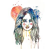 watercolour girl longhair Photographic Print