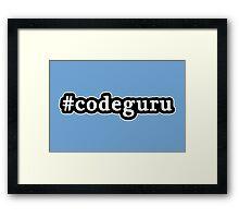 Code Guru - Hashtag - Black & White Framed Print
