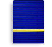 Stripe - Yellow on Blue Canvas Print