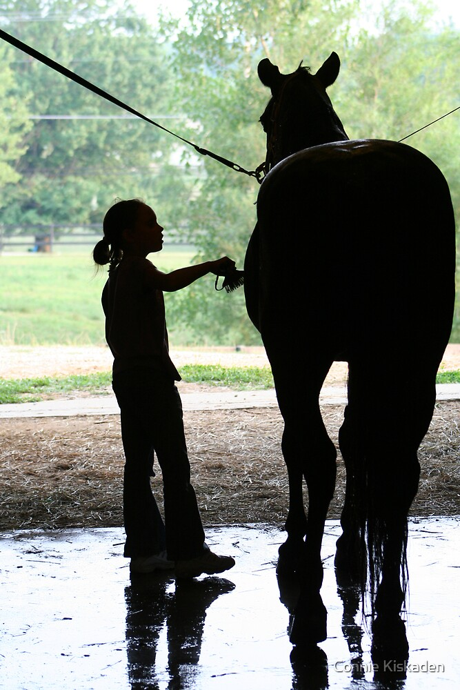 Child and Horse Silhouette  by Connie Kiskaden