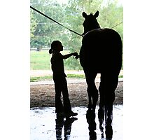 Child and Horse Silhouette  Photographic Print