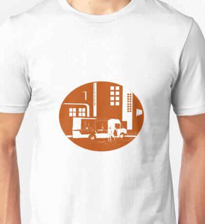 Food Truck City Buildings Oval Woodcut Unisex T-Shirt