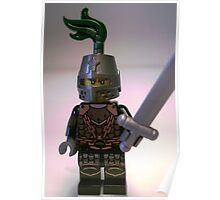 Dragon Knight Minifigure with Scale Mail with Chains, Helmet Closed, & green plume  Poster