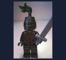 Dragon Knight Minifigure with Scale Mail with Chains, Helmet Closed, & green plume  Kids Tee