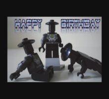 Happy Birthday Greeting Card of Custom Cyber Droid Shadow Soldier One Piece - Short Sleeve