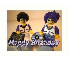 Happy Birthday Greeting Card DJ Clubbing Tru & his Dad Disco Stu (with CD and Record) Minifigs Art Print