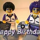 Happy Birthday Greeting Card DJ Clubbing Tru & his Dad Disco Stu (with CD and Record) Minifigs by Customize My Minifig