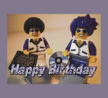 Happy Birthday Greeting Card DJ Clubbing Tru & his Dad Disco Stu (with CD and Record) Minifigs Kids Clothes