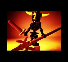 Black Skeleton Viking Helmet and Warrior Weapons by Chillee