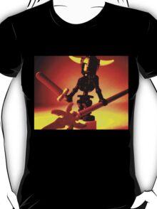 Black Skeleton Viking Helmet and Warrior Weapons T-Shirt