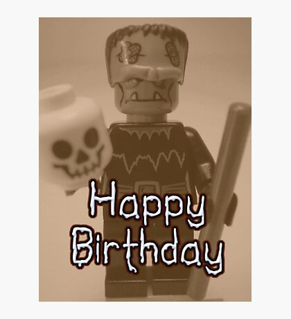 Happy Birthday Frankensteins Monster Custom Minifig Photographic Print